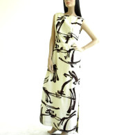 Vintage 1950s-60s Cream Brushstroke Sleeveless Maxi Dress