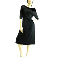 Vintage 1950's R & K Originals Black Wiggle Dress