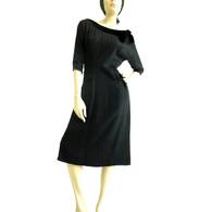 Vintage 1950's R & K Originals Black Wiggle Dress