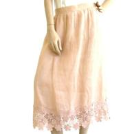 Vintage 1970's Pink Linen Floral Rosette Skirt