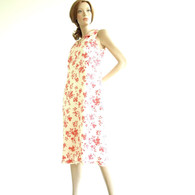 Vintage 1960&#039;s Red Floral Sleeveless Dress