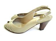 Vintage Amalfi - Taupe Peep Toe Slingback Heel