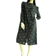 Vintage 1970/80's Nipon Boutique Black Floral Silk Dress