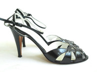Vintage 1970s Garolini Black Leather Cutout Sandal at Borough Vintage.
