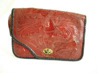 Vintage Hand Tooled Red Leather Shoulder Bag at Borough Vintage.