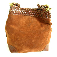 Vintage 1980s Purse -  Brown Suede Bucket