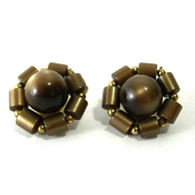 Bronze Flower Clip Earrings