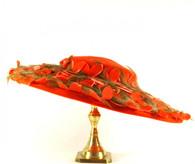1958 Ranleigh Orange Velvet Saucer Pancake Hat