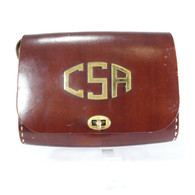 Brass Monogrammed Cowhide Purse