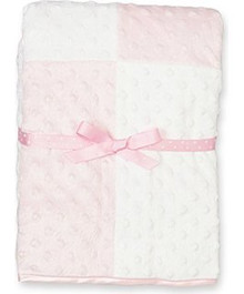 Pink & White Blocks Minky Blanket