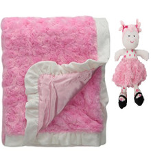 "Pink Plush Swirl Blanket & ""Sugar & Spice"" Doll - SET"