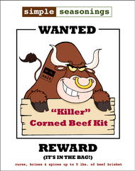 """Killer"" Corned Beef Kit™ - Product Label (front) by go lb. salt ® - store.golbsalt.com"