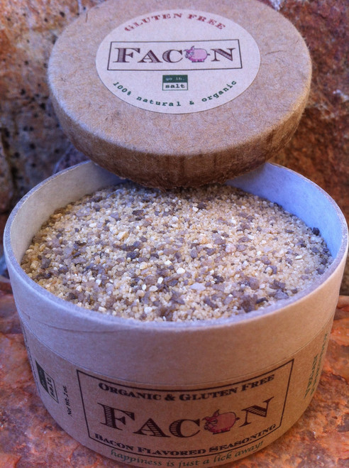 FACON™ - Vegan-friendly, 100% organic, gluten-free, chemical-free bacon flavored seasoning (retail product image) by go lb. salt ® - store.golbsalt.com