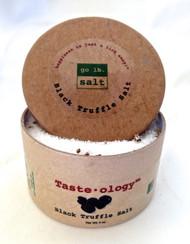 Taste·ology™ Black Truffle Salt (retail product image) - infused with real Black Truffle shavings (no chemical essence or aroma) by go lb. salt ® - store.golbsalt.com