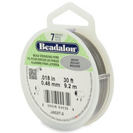 7 Strand Stainless Steel Bead Stringing Wire, .018 in, Bright, 30 ft