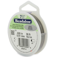 7 Strand Stainless Steel Bead Stringing Wire, .020 in, Bright, 30 ft