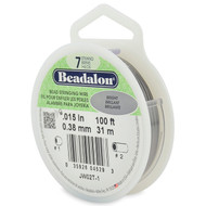 7 Strand Stainless Steel Bead Stringing Wire, .015 in, Bright, 100 ft