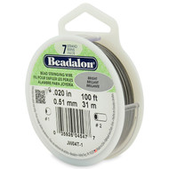 7 Strand Stainless Steel Bead Stringing Wire, .020 in, Bright, 100 ft