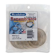 Remembrance Memory Wire, Round, Bracelet, Gold Color, 1 oz