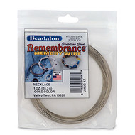 Remembrance Memory Wire, Round, Necklace, Gold Color, 1 oz