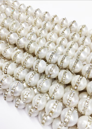 White Potato Freshwater Pearls with Cubic Zirconia 10-11mm (by the strand)