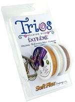 Soft Flex Trios Beading Wire Extreme Fine/ .014 dia. 24k gold/ Sterling Silver/ Champagne 3x10 foot pack - each (6900)