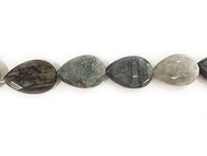 Natural Cat's Eye Facetted Flat Briolettes Centre-Drilled 22x32mm - By The Strand