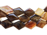 Brown/Orange Agate Diamond/Rhombus 28x32x9mm - By The Strand