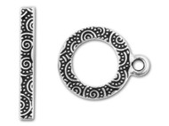 "TierraCast 5/8"" Antique Silver Spiral Toggle Clasp Set each"