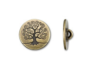 TierraCast Antique Brass Tree Of Life Button each