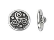 TierraCast Antique Silver Triskele Round Button each
