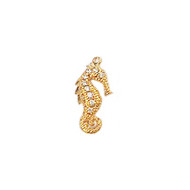 Seahorse Gold Plated Copper Charm with Cubic Zirconias 28mm
