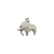 Elephant Rhodium Plated Copper Charm with Cubic Zirconias 20mm