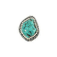 Turquoise Bead with Cubic Zirconias