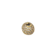 Round Bead Gold-Plated Copper with Cubic Zirconias 14mm