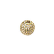 CZ Bead 16mm Round with Gold Plated Copper - each