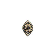 CZ Bead Evil Eye 20mm with Black Gold Plated Copper - each