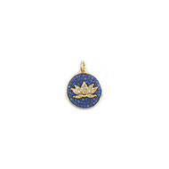 Lotus Charm Gold-Plated Copper with Blue Cubic Zirconias 14mm