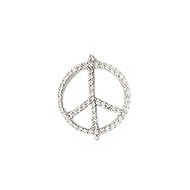 Peace Connector Silver-Plated Copper with Cubic Zirconias 22mm