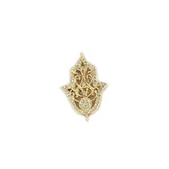 Connector Hamsa 20mm with CZ Gold Plated Copper - each