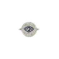 Round Evil Eye Connector Rhodium Plated Copper with Cubic Zirconias 15mm
