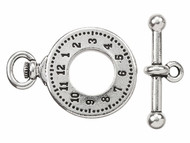 TierraCast Antique Silver Clock and Bar Toggle Clasp Set each
