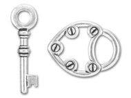 TierraCast Antique Silver Lock and Key Toggle Clasp Set each