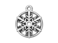 "TierraCast 3/4"" Antique Silver Snowflake Charm each"
