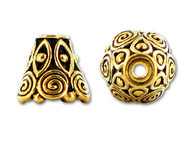 TierraCast Antique Gold Spiral Cone Bead Cap each