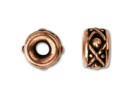 TierraCast 8mm Antique Copper Legend Large Hole Spacer Bead each