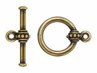 TierraCast Antique Brass Beaded Large Toggle Clasp Set each
