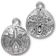 TierraCast Antique Silver Sand Dollar Charm each