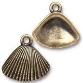 TierraCast Antique Brass Shell Charm each