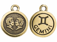 TierraCast Antique Gold Gemini Charm each